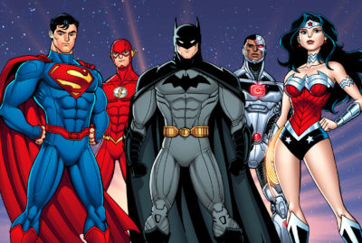 "Superman, Batman, Wonder Woman, the Flash and Cyborg from ""Gassed"""