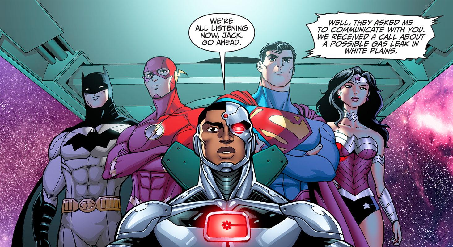 Batman, Superman, Wonder Woman, The Flash & Cyborg talk to Con Edison